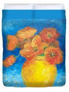 Orange Poppies In Yellow Vase Duvet Cover