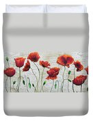 Orange Poppies Original Abstract Flower Painting By Megan Duncanson Duvet Cover
