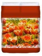 Orange Princess Fringed Tulips Duvet Cover