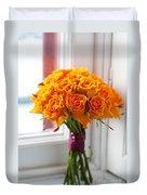 Orange Rose Wedding Bouquet Duvet Cover