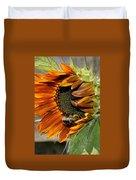Orange Sunflower And Bee Duvet Cover