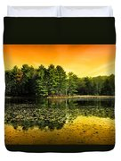 Orange Sunrise Reflection Landscape Duvet Cover