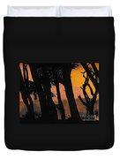 Orange Sunset Forest Duvet Cover