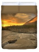Orange Sunset On Sluice Box Rapids Duvet Cover