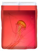 Orange Swimming Jellyfish Duvet Cover