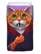 Orange Tabby Vampire Cat Duvet Cover