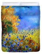 Orange Tree And Blue Cornflowers Duvet Cover