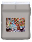 Orange Trumpet Flowers Duvet Cover