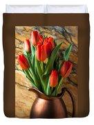 Orange Tulips In Copper Pitcher Duvet Cover