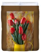 Orange Tulips In Yellow Pitcher Duvet Cover by Garry Gay