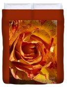 Orange Variegated Rose Duvet Cover