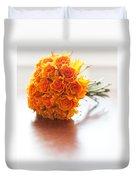 Orange Wedding Bouquet Roses Duvet Cover