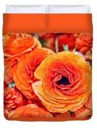 Orange You Happy Ranunculus Flowers By Diana Sainz Duvet Cover
