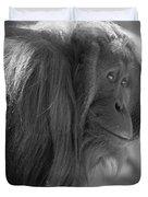 Orangutan Black And White Duvet Cover