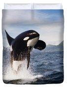 Orca Breach Duvet Cover