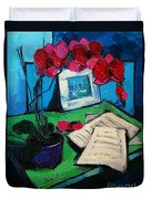 Orchid And Piano Sheets Duvet Cover