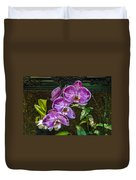 Orchid Flowers Growing Through Old Wooden Picture Frame Duvet Cover