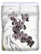 Orchids And Suminagashi Duvet Cover