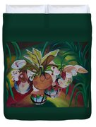Orchids In Raindrop Reflections Duvet Cover
