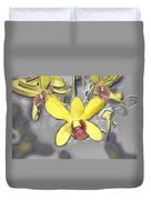 Orchids With Oil Slick Pattern Duvet Cover
