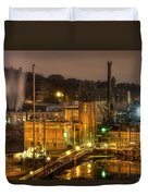 Oregon City Electricity Power Plant At Night Duvet Cover