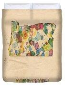 Oregon Map Vintage Watercolor Duvet Cover