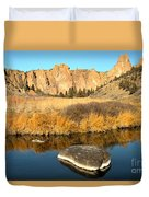 Oregon River Rock Reflections Duvet Cover