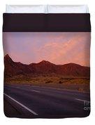 Organ Mountain Sunrise Highway Duvet Cover by Mike  Dawson
