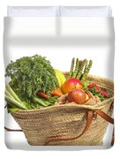 Organic Fruit And Vegetables In Shopping Bag Duvet Cover