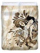 Oriental Beauty Sepia Tone Duvet Cover