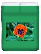 Oriental Poppy Flower Duvet Cover