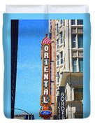 Oriental Theater With Sponge Painting Effect Duvet Cover