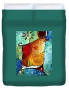 Original Abstract Pop Art Style Colorful Landscape Painting Home To Tuscany By Megan Duncanson Duvet Cover