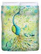 Original Acrylic Bird Floral Painting Peacock Glory By Megan Duncanson Duvet Cover