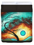 Original Bold Colorful Abstract Landscape Painting Family Joy I By Madart Duvet Cover