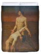 Original Classic Oil Painting Body Art - Two Male Nude-  034 Duvet Cover