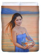 Original Classic Oil Painting Girl Art- Chinese Beautiful Girl And Goldfish Duvet Cover