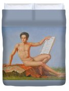 Original Classic Oil Painting Man Body Art Male Nude#16-2-5-43 Duvet Cover