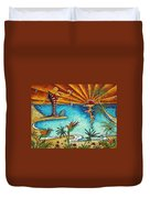 Original Coastal Surfing Whimsical Fun Painting Tropical Serenity By Madart Duvet Cover
