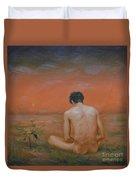 Original Oil Painting Gay Man Art-male Nude#16-2-5-43 Duvet Cover