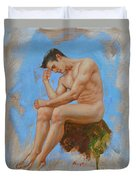 Original Oil Painting Man Body Art - Male Nude -037 Duvet Cover