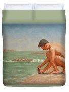 Original Oil Painting Man Body Art Male Nude By The Sea#16-2-5-42 Duvet Cover