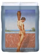Original Oil Painting Man Body Art Male Nude On Canvas#16-2-5-13 Duvet Cover