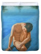 Original Oil Painting Man Body Art Male Nudeby The Pool -028 Duvet Cover