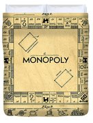 Original Patent For Monopoly Board Game Duvet Cover