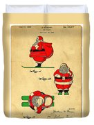 Original Patent For Santa On Skis Figure Duvet Cover