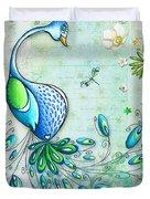 Original Peacock Painting Bird Art By Megan Duncanson Duvet Cover