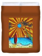 Original Tropical Surfing Whimsical Fun Painting Waiting For The Surf By Madart Duvet Cover