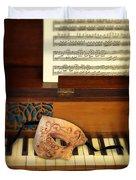 Ornate Mask On Piano Keys Duvet Cover