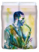 Ornette Coleman - Watercolor Portrait Duvet Cover